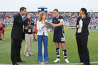 Freedom forward Abby  Wambach receiving the induction of Hall of Freedom on behalf of David Valone former Assistant coach from Maureen Hendricks Chairwoman.  The LA Sol defeated the Washington Freedom 1-0 at the Maryland Soccerplex, Sunday July 5, 2009.