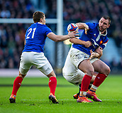 10th February 2019, Twickenham Stadium, London, England; Guinness Six Nations Rugby, England versus France; The ball is passed off to Antoine Dupont of France