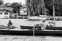 Walton, Great Britain,  Men's Singles,  at the start, moving away from the Stake Boats, Walton Reach Regatta, Walton on Thames, Skiff and Punting Regatta.  <br />