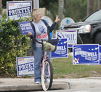 Gary Wilcox/The Times-Union--11/04/08-Jen Westminster of Jacksonville Beach was campaigning for Barack Oabma  near the Beaches Branch Library in Neptune Beach Tuesday November 4, 2008 (The Florida Times-Union, Gary Wilcox)..