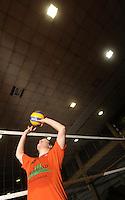 Volleyball, 2. Bundesliga, GSVE Delitzsch. im Bild: René Berlet ist Zuspieler beim GSVE. In Friedrichshafen wartet die ungeliebte grosse Halle mit wenig Bezugspunkten.   Foto: Alexander Bley