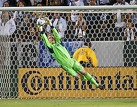 CARSON, CA – May 14, 2011: Sporting KC goalie Eric Kronberg (18) makes a save during the match between LA Galaxy and Sporting Kansas City at the Home Depot Center in Carson, California. Final score LA Galaxy 4, Sporting Kansas City 1.