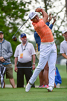 Rickie Fowler (USA) watches his tee shot on 4 during round 4 of the Shell Houston Open, Golf Club of Houston, Houston, Texas, USA. 4/2/2017.<br /> Picture: Golffile | Ken Murray<br /> <br /> <br /> All photo usage must carry mandatory copyright credit (&copy; Golffile | Ken Murray)