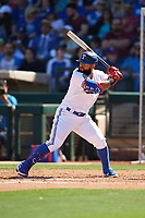Rougned Odor (12) of the Texas Rangers at bat during a Cactus League Spring Training game against the Los Angeles Dodgers on March 8, 2020 at Surprise Stadium in Surprise, Arizona. Rangers defeated the Dodgers 9-8. (Tracy Proffitt/Four Seam Images)