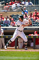 Cam Gibson (30) of the Michigan State Spartans bats during a 2015 Big Ten Conference Tournament game between the Nebraska Cornhuskers and Michigan State Spartans at Target Field on May 20, 2015 in Minneapolis, Minnesota. (Brace Hemmelgarn/Four Seam Images)