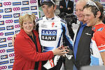 Andy Schleck (LUX) Saxo Bank, pictured with brother Franck and parents, wins the 95th running of Liege-Bastogne-Liege cycle race, running 261km from Liege to Ans, Belgium. 26th April 2009 (Photo by Eoin Clarke/NEWSFILE)