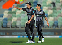 New Zealand's Tim Southee and Trent Boult during the 4th Twenty20 International cricket match between NZ Black Caps and England at McLean Park in Napier, New Zealand on Friday, 8 November 2019. Photo: Dave Lintott / lintottphoto.co.nz