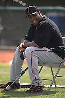 Barry Bonds during San Francisco Giants spring training at Scottsdale Stadium in Scottsdale, AZ on February 28, 2006. Photo by Brad Mangin