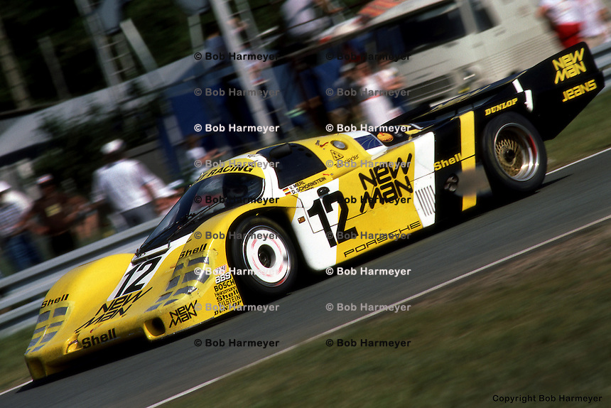 LE MANS, FRANCE: The #12  Porsche 956 105 driven by Volkert Merl, Dieter Schornstein and John Winter during the 24 Hours of Le Mans on June 17, 1984, at the Circuit de la Sarthe in Le Mans, France.