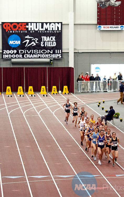 14 MAR 2009: Elise Tropiano (1) of Amherst College leads the field in the 5000 meter run during the Division III Men's and Women's Indoor Track and Field Championships held at the Sports and Recreation Center on the Rose-Hulman Institute of Technology campus in Terre Haute, Indiana. Tropiano won with a season best time of 16:58.84. Joe Robbins/NCAA Photos