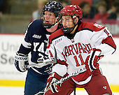 Colin Dueck (Yale - 21), Kyle Criscuolo (Harvard - 11) - The Yale University Bulldogs defeated the Harvard University Crimson 5-1 on Saturday, November 3, 2012, at Bright Hockey Center in Boston, Massachusetts.