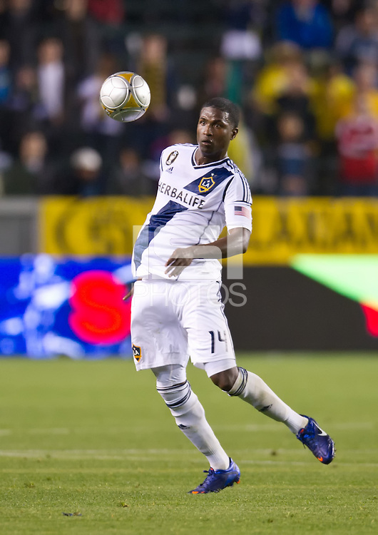 CARSON, CA - March 10,2012: LA Galaxy forward Edson Buddle (14) during the LA Galaxy vs Real Salt Lake match at the Home Depot Center in Carson, California. Final score LA Galaxy 1, Real Salt Lake 3.