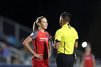 Cary, NC - Saturday April 22, 2017: Allie Long (left) gets a warning from referee Victor Rivas (right) during a regular season National Women's Soccer League (NWSL) match between the North Carolina Courage and the Portland Thorns FC at Sahlen's Stadium at WakeMed Soccer Park.