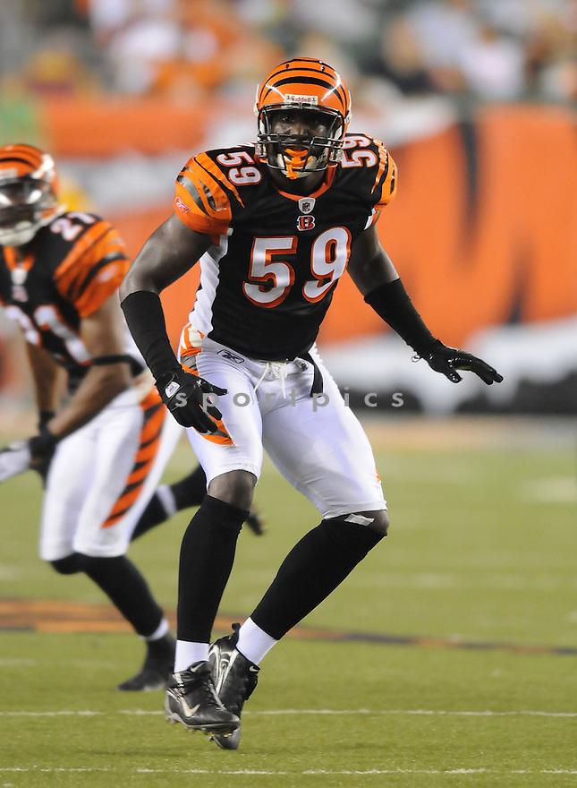BRANDON JOHNSON, of the Cincinnati Bengals, in action during the Bengals game against the New Orleans Saints  in Cincinnati , Ohio on August 23, 2008..The New Orleans Saints won 13-0