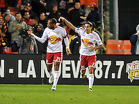 New York Red Bull Thierry Henry (14) celebrates the score with teammate Tim Cahill (17) The New York Red Bulls tied D.C. United 1-1 in the first leg of the Eastern Conference semifinals at RFK Stadium, Saturday November 3, 2012.