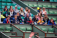 Paris, France, 24 June, 2016, Tennis, Roland Garros,  Kiki Bertens (NED) upset 13h seat Kerber of Germany in the first round, on the Dutch stand parents coaches and collegues watching<br /> Photo: Henk Koster/tennisimages.com