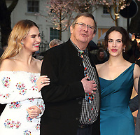 Lily James, Mike Newell and Jessica Brown Findlay at The Guernsey Literary And Potato Peel Pie Society World Premiere at the Curzon Mayfair, London, on Monday April 9th 2018<br /> CAP/ROS<br /> &copy;ROS/Capital Pictures