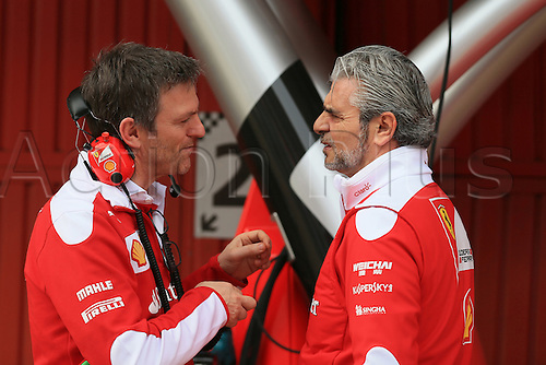 24.02.2016. Circuit de Catalunya, Barcelona, Spain. Day 3 of the Spring F1 testing and new car unvieling for 2016-17 season.  Scuderia Ferrari - Maurizio Arrivabene, Team Principal talking with James Allison