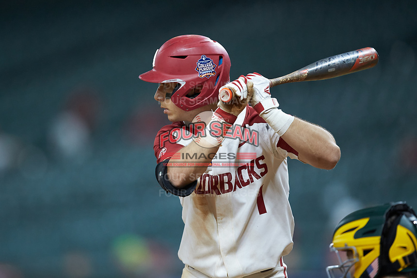 Robert Moore (1) of the Arkansas Razorbacks at bat against the Baylor Bears in game nine of the 2020 Shriners Hospitals for Children College Classic at Minute Maid Park on March 1, 2020 in Houston, Texas. The Bears defeated the Razorbacks 3-2. (Brian Westerholt/Four Seam Images)
