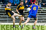 Paul O'Connor Dr Crokes in action against Dara O'Shea Kenmare District in the Senior County Football Championship final at Fitzgerald Stadium on Sunday.