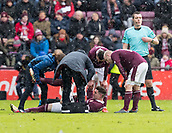 17th March 2018, Tynecastle Park, Edinburgh, Scotland; Scottish Premier League football, Heart of Midlothian versus Partick Thistle;  Kyle Lafferty of Hearts lies injuries