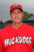 Batavia Muckdogs Manager Dann Bilardello (11) poses for a photo before minicamp team practice at Dwyer Stadium in Batavia, New York June 14, 2010.   Photo By Mike Janes/Four Seam Images