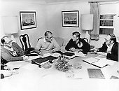 United States Secretary of State Cyrus Vance, left center, and National Security Advisor Zbigniew Brezezinski, right center, participate in a morning meeting of the American delegation at Camp David, near Thurmont, Maryland prior to their meeting on Thursday, September 14, 1978.  The staff person at left is unidentified, Bibb Quant, a National Security staff member is at right..Credit: White House via CNP