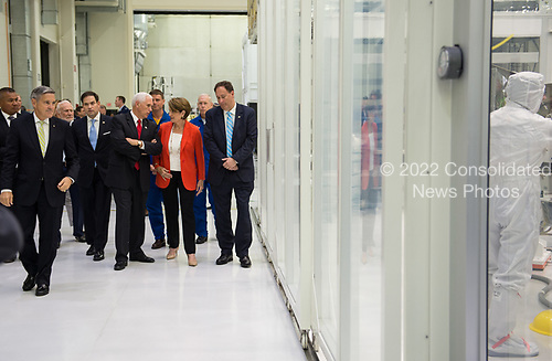 In this photo released by the National Aeronautics and Space Administration (NASA) United States Vice President Mike Pence tours NASA's Kennedy Space Center (KSC) Operations and Checkout Building with, from left to right, KSC director Robert D. Cabana, US Senator  Marco Rubio (Republican of Florida) , Marillyn Hewson, chairman, president and CEO of Lockheed Martin, and acting NASA Administrator Robert Lightfoot, Thursday, July 6, 2017, in Cape Canaveral, Florida. <br /> Mandatory Credit: Aubrey Gemignani / NASA via CNP