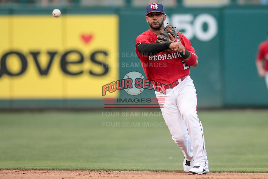Jonathan Villar (2) of the Oklahoma City RedHawks throws to first during the Pacific Coast League game against the Round Rock Express at Chickashaw Bricktown Ballpark on June 14, 2013 in Oklahoma City ,Oklahoma.  (William Purnell/Four Seam Images)