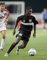 9 April 2005.  DC United forward Freddy Adu (9) holds the ball at his feet at RFK Stadium in Washington, DC.