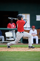 New Hampshire Fisher Cats right fielder Andrew Guillotte (1) follows through on a swing during the first game of a doubleheader against the Harrisburg Senators on May 13, 2018 at FNB Field in Harrisburg, Pennsylvania.  New Hampshire defeated Harrisburg 6-1.  (Mike Janes/Four Seam Images)