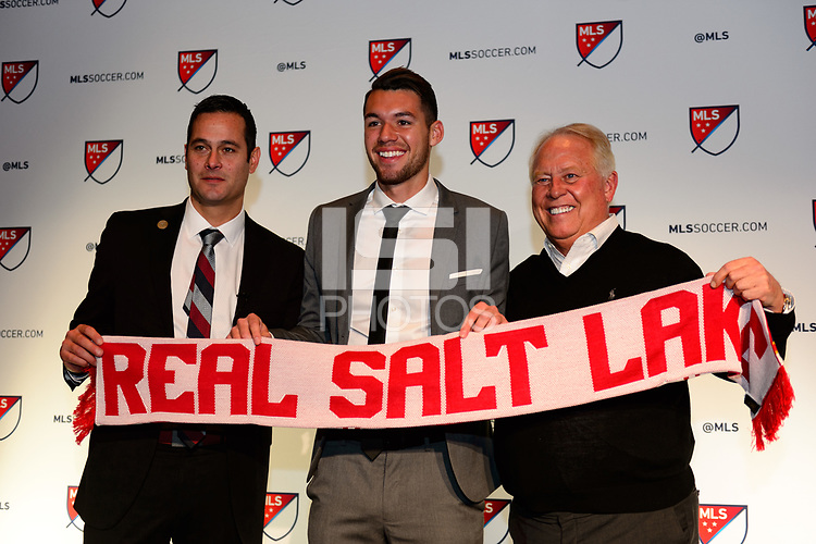 Philadelphia, PA - Friday January 19, 2018: Mike Petke, Ricky Lopez-Espin, Dell Loy Hansen during the 2018 MLS SuperDraft at the Pennsylvania Convention Center.