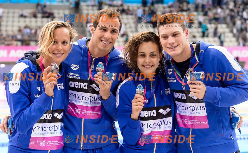 Team ITALY Silver Medal <br /> SABBIONI Simone CARRARO Martina CODIA Piero <br /> PELLEGRINI Federica <br /> 4x100m Medley Mixed<br /> London, Queen Elizabeth II Olympic Park Pool <br /> LEN 2016 European Aquatics Elite Championships <br /> Swimming<br /> Day 09 17-05-2016<br /> Photo Andrea Staccioli/Deepbluemedia/Insidefoto