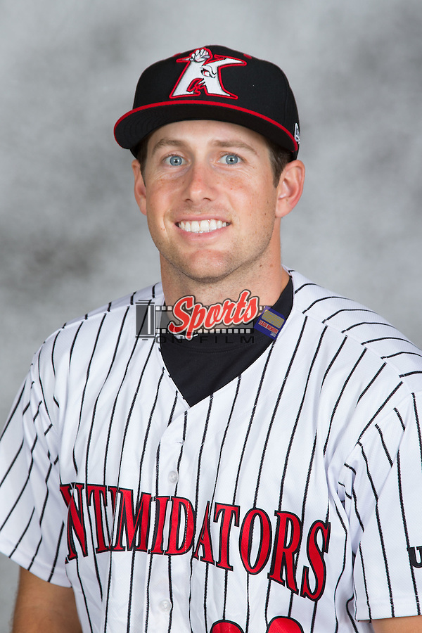 Michael Suiter (22) of the Kannapolis Intimidators poses for a head shot at Kannapolis Intimidators Stadium on May 4, 2016 in Kannapolis, North Carolina.  (Brian Westerholt/Four Seam Images)