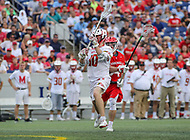 Annapolis, MD - May 20, 2018: Maryland Terrapins Jared Bernhardt (10) scores a goal during the quarterfinal game between Maryland vs Cornell at  Navy-Marine Corps Memorial Stadium in Annapolis, MD.   (Photo by Elliott Brown/Media Images International)