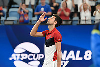11th January 2020; Sydney Olympic Park Tennis Centre, Sydney, New South Wales, Australia; ATP Cup Australia, Sydney, Day 9; Serbia versus Russia;  Novak Djokovic versus Daniil Medvedev; Novak Djokovic of Serbia reacts after winning his match against Daniil Medvedev of Russia - Editorial Use