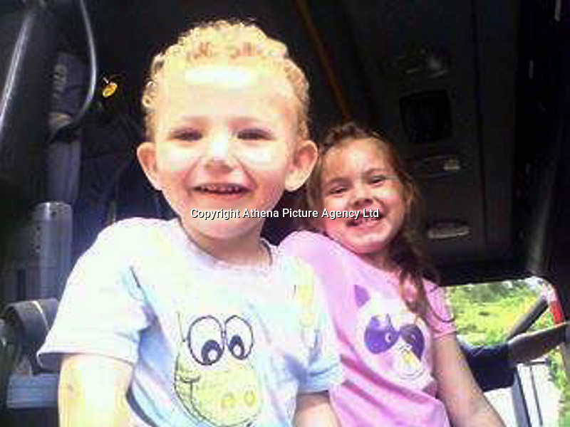 Pictured L-R: Four year old Jac Davies with his sister Kelsey, who helped save their other brother Andrew. Jac died in a house fire in the Alltwen area of Pontardawe, south Wales. Wednesday 27 July 2016<br /> Re: A four-year-old boy has died following a fire at a house in Neath Port Talbot.<br /> Fire crews were called to the property in Lon Tanyrallt, Alltwen, near Pontardawe, at 1.40am on Wednesday.<br /> They rescued the boy from an upstairs bedroom in the two-storey semi-detached house but he died at the scene.<br /> A three-year-old boy was also rescued and take to hospital along with his sister, six, and mother who had both managed to escape the blaze.<br /> They were all suffering from suspected smoke inhalation.<br /> Mid and West Wales Fire and Rescue Service said the woman, who is believed to be in her 20s, called for help and neighbours tried to get in to help the stranded children.