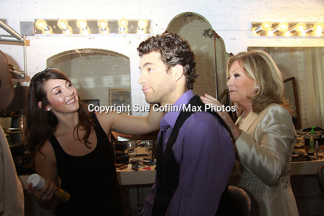 Josh Davis gets his hair done by makeup artist Lindsey Zelli and Costar Guiding Light Tiina Sloan makeup room as they star in Empire The Series as it films on set June 3, 2012  in Brooklyn, New York. (Photo by Sue Coflin/Max Photos)