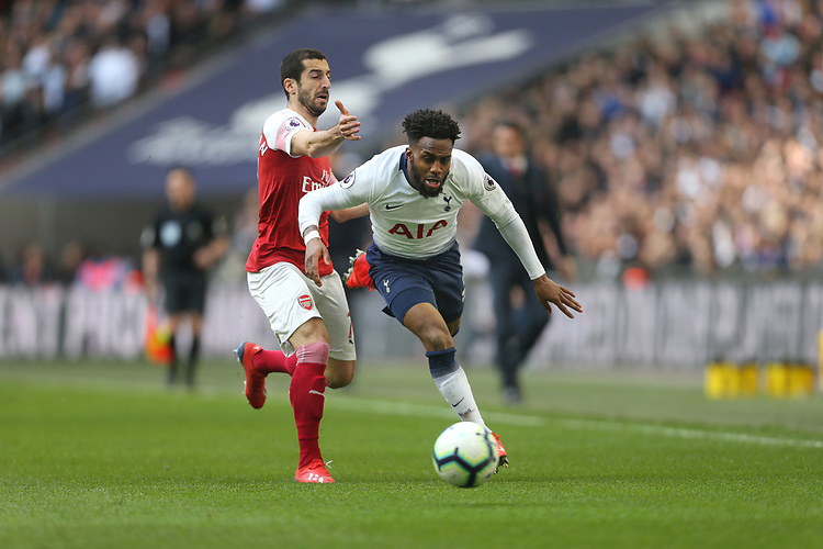 Tottenham Hotspur's Danny Rose and Arsenal's Henrikh Mkhitaryan<br /> <br /> Photographer Rob Newell/CameraSport<br /> <br /> The Premier League - Tottenham Hotspur v Arsenal - Saturday 2nd March 2019 - Wembley Stadium - London<br /> <br /> World Copyright © 2019 CameraSport. All rights reserved. 43 Linden Ave. Countesthorpe. Leicester. England. LE8 5PG - Tel: +44 (0) 116 277 4147 - admin@camerasport.com - www.camerasport.com