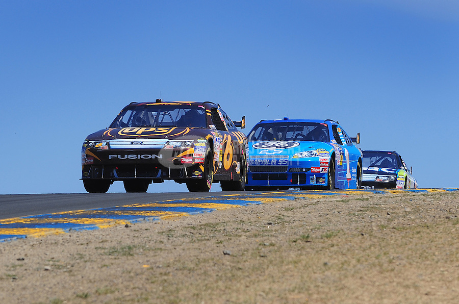 Jun. 21, 2009; Sonoma, CA, USA; NASCAR Sprint Cup Series driver David Ragan leads Martin Truex Jr during the SaveMart 350 at Infineon Raceway. Mandatory Credit: Mark J. Rebilas-