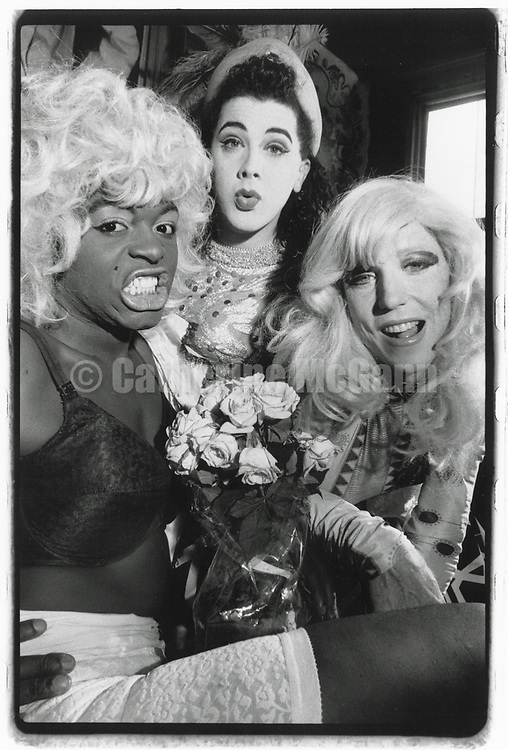 1990s:  Group portrait of drag queens, L-R:  Mona Foote, Perfidia and Lahoma Van Zandt in New York City.