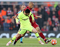 Liverpool's Fabinho vies for possession with  Barcelona's Lionel Messi<br /> <br /> Photographer Rich Linley/CameraSport<br /> <br /> UEFA Champions League Semi-Final 2nd Leg - Liverpool v Barcelona - Tuesday May 7th 2019 - Anfield - Liverpool<br />  <br /> World Copyright © 2018 CameraSport. All rights reserved. 43 Linden Ave. Countesthorpe. Leicester. England. LE8 5PG - Tel: +44 (0) 116 277 4147 - admin@camerasport.com - www.camerasport.com