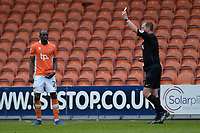 Blackpool's Sanmi Odelusi is shown a yellow card by referee Mark Brown<br /> <br /> Photographer Terry Donnelly/CameraSport<br /> <br /> The EFL Sky Bet League Two - Blackpool v Accrington Stanley - Friday 14th April 2017 - Bloomfield Road - Blackpool<br /> <br /> World Copyright &copy; 2017 CameraSport. All rights reserved. 43 Linden Ave. Countesthorpe. Leicester. England. LE8 5PG - Tel: +44 (0) 116 277 4147 - admin@camerasport.com - www.camerasport.com