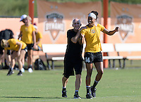 Houston, TX - Friday Oct. 07, 2016: Paul Riley, Jessica McDonald during training prior to the National Women's Soccer League (NWSL) Championship match between the Washington Spirit and the Western New York Flash at BBVA Compass Stadium.