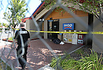 A private security firm now patrols the IHOP in Carson City, Nev., on Friday, Sept. 8, 2011, following Tuesday's shooting that ended with five people dead, including the gunman, and seven wounded. (AP Photo/Cathleen Allison)