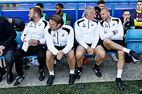 (L-R) Billy Reid, assistant manager, Bjorn Hamberg, assistant coach, Alan Curtis, assistant coach, Adrian Tucker, goalkeeping coach, Physiotherapist, Ritson Lloyd and Dr. Jez McCluskey, Club Doctor during the Sky Bet Championship match between Ipswich Town an Swansea City at Portman Road Stadium, Ipswich, England, UK. Monday 22 April 2019