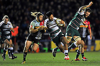 Manu Tuilagi of Leicester Tigers takes on the Harlequins defence. Aviva Premiership match, between Harlequins and Leicester Tigers on February 19, 2016 at the Twickenham Stoop in London, England. Photo by: Patrick Khachfe / JMP