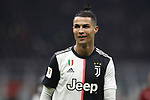 Cristiano Ronaldo of Juventus reacts during the Coppa Italia match at Giuseppe Meazza, Milan. Picture date: 13th February 2020. Picture credit should read: Jonathan Moscrop/Sportimage