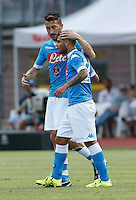 Esultanza Mirko Valdifiori Lorenzo Insigne  durante l amichevole Napoli  Anaune a Dimaro 21 Luglio 2015<br /> <br /> Preseason summer training of Italy soccer team  SSC Napoli  in Dimaro Italy July 11, 2015