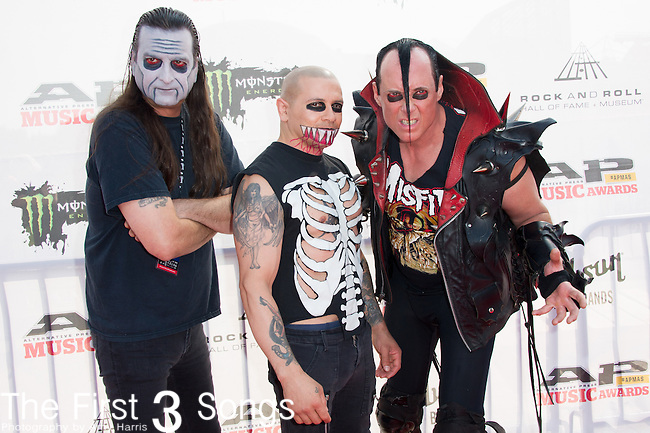 """Jerry Only, Dez Cadena, and Eric """"Chupacabra"""" Arce of The Misfits attend the 2014 AP Music Awards at the Rock And Roll Hall Of Fame and Museum at North Coast Harbor in Cleveland, Ohio."""